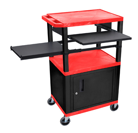 Red/Black 42-Inch Tuffy Cabinet Cart w/Keyboard Shelf/Side Shelf/Electric