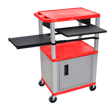 Red/Nickel 42-Inch Tuffy Cabinet Cart w/Keyboard Shelf/Side Shelf/Electric