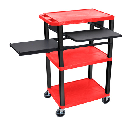 Red 42-Inch Tuffy Cart - Black Legs with Keyboard & Side Shelf Plus Electric