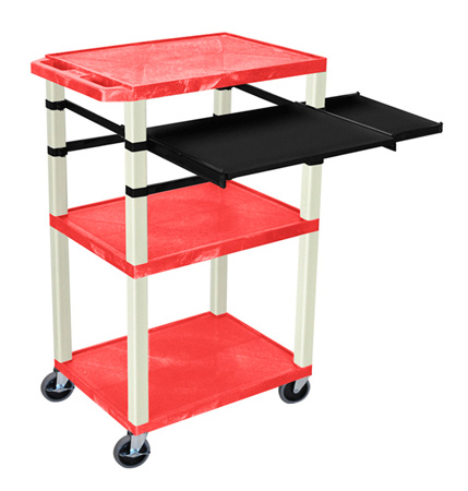 Red 42-Inch Tuffy Cart - Putty Legs with Keyboard & Side Shelf Plus Electric