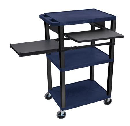 Topaz Blue 42-Inch Tuffy Cart Black Legs w/Keyboard & Side Shelf Plus Electric