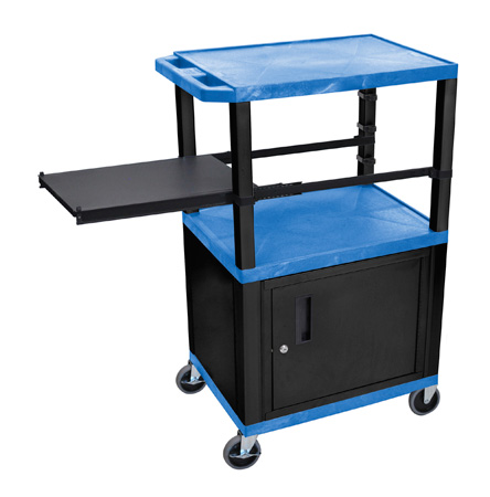 Blue 42-Inch Tuffy Cart - Black Cabinet & Legs with Side Shelf & Electric
