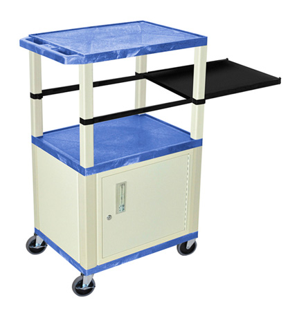 Blue 42-Inch Tuffy Cart - Putty Cabinet & Legs with Side Shelf & Electric