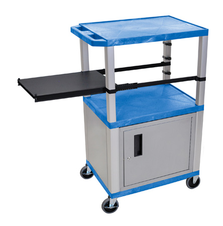 BLUE 42-Inch Tuffy Cart  - Nickel Cabinet & Legs with Side Shelf & Electric