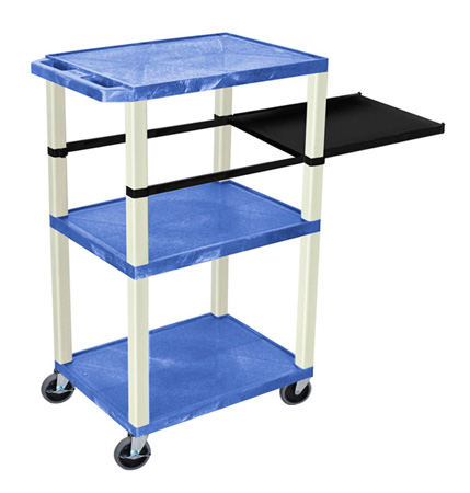 Blue 42-Inch Tuffy Cart - Putty Legs with Side Shelf & Electric