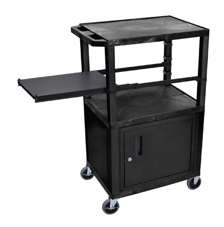 Black 42-Inch Tuffy Cart - Black Cabinet & Legs with Side Shelf & Electric