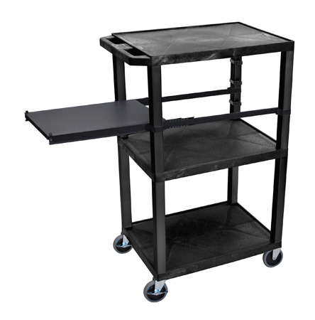 Black 42-Inch Tuffy Cart - Black Legs with Side Shelf & Electric