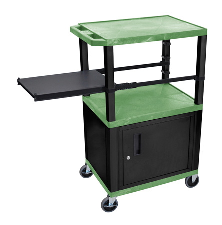 Green 42-Inch Tuffy Cart - Black Cabinet & Legs with Side Shelf & Electric