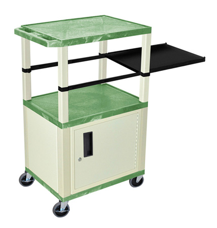 Green 42-Inch Tuffy Cart - Putty Cabinet & Legs with Side Shelf & Electric