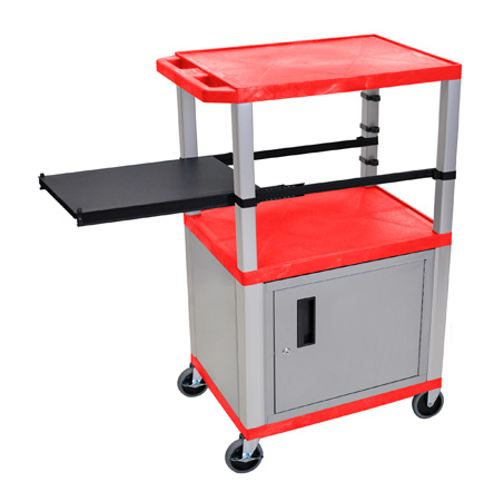 Red 42-Inch Tuffy Cabinet Cart - Nickel Legs w/Side Shelf & Electric