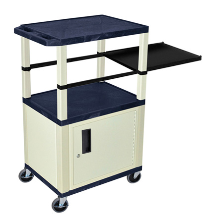 Topaz Blue 42-Inch Tuffy Cabinet Cart - Putty Legs w/Side Shelf & Electric