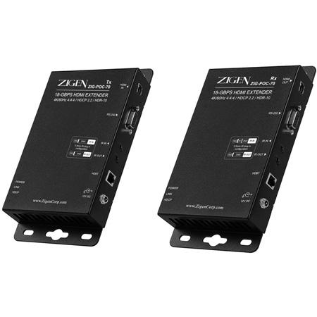Zigen ZIG-POC-70 4K60Hz 18G HDBaseT HDMI Extender Set - 12-V POC with Bi-Directional IR & RS232 - Supports HDR-10