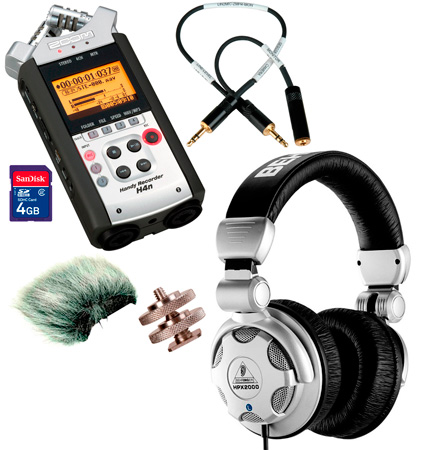 Zoom H4N On-Camera DSLR Audio Kit with Padded Audio Cable/Windscreen/Headphones