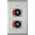 1G Stainless Wall Plate w/2 Neutrik NJ3FP6C 1/4-In. TRS Latching Jacks