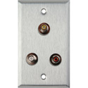1-Gang Stainless Steel Wall Plate with 3 RCA Feed-Thru Barrels