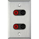 1Gang Stainless Wall Plate w/2 Pomona Dual Banana Jacks 2-Black/2-Red