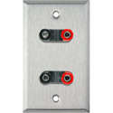1-Gang Stainless Steel Wall Plate with 2 Dual Binding Post Connectors