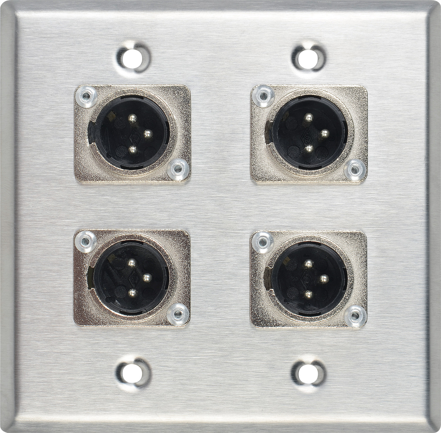 Contractor Series Dual Gang Wall Plate With 4 Male Xlr