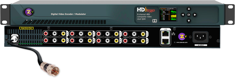 ZeeVee HDb2380 8-Channel 480i Composite Video Dual QAM