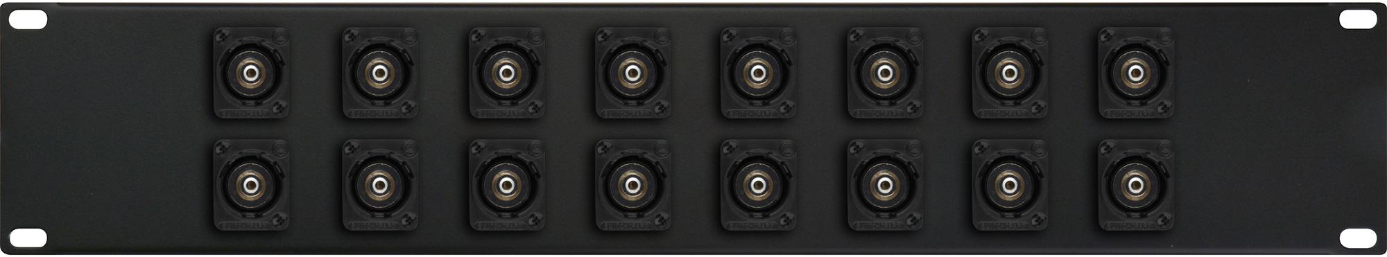 My Custom Shop 16XEHRCABNC-B 16-Port RCA to BNC Feed-Through Patch Panel w/ Black Switchcraft E Series - 2RU 16XEHRCABNC-B