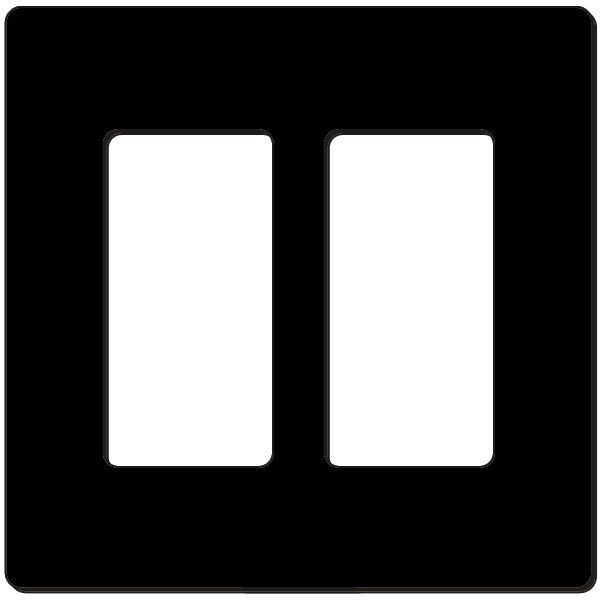 Attero Tech 2-GANG SNAP-IN DECORA-B 2-Gang Screwless Snap-In Decora Wall Plate - Black 2GNGSNPINDCRABK