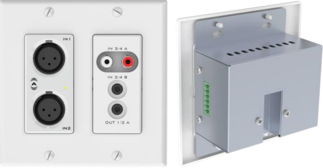 Attero Tech UND6IO-W-U 4x2 Channel 2 Gang US Wallplate with XLR RCA 3.5mm I/O PoE - UDP 3rd Party Compatible - White ATEC-UND6IO-W-U