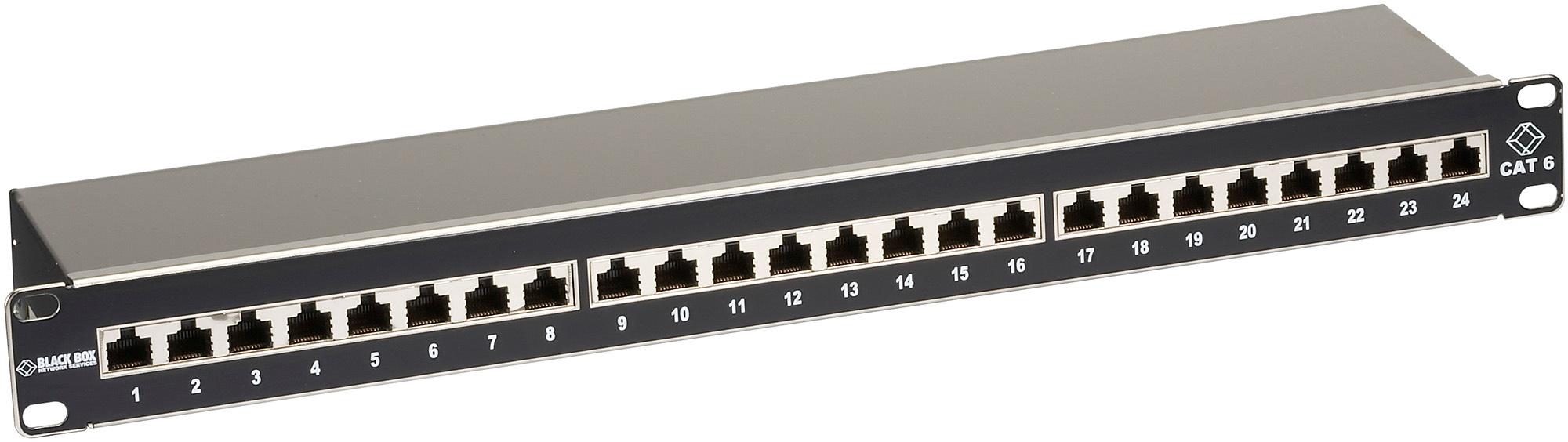 Black Box JPS60A-24 1U 24-Port CAT6 Shielded Patch Panel BBX-JPS60A-24