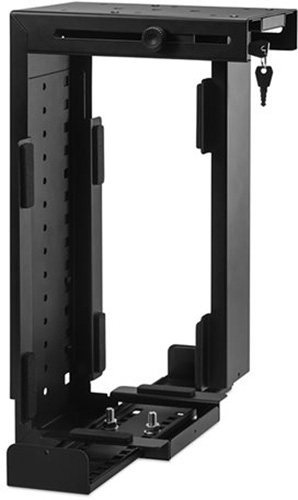 Side Or Under Desk Mount Locking Cpu Holder Black