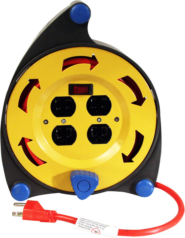 Retractable 25ft Extension Cord Reel Four Outlet on Side. Zoom