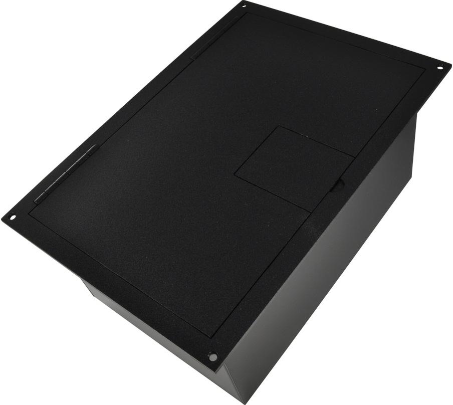 FSR FL-1500-2D-BLK FL-1500 Punched Floor Box for 2 Duplex - Black Sandtex Paint- Hinged Lid FSR-FL-1500-2D-B
