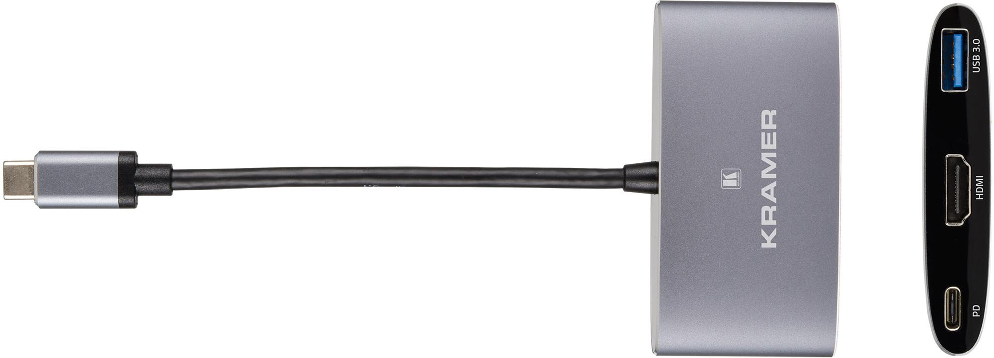 Kramer KDOCK-1 USB-C Hub Multiport Adapter - USB-C Charging Pass-Through - USB 3.0 - 4k@30 HDMI Output KR-KDOCK-1