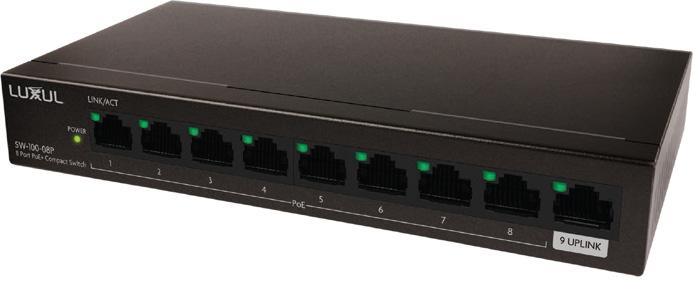 Luxul SW-100-08P 8-Port Gb PoE Unmanaged Ethernet Switch with Uplink - 92 Watt LUXU-SW-100-08P
