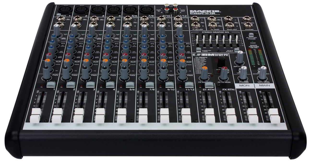 mackie profx12 professional 12 channel compact mixer with onboard fx. Black Bedroom Furniture Sets. Home Design Ideas