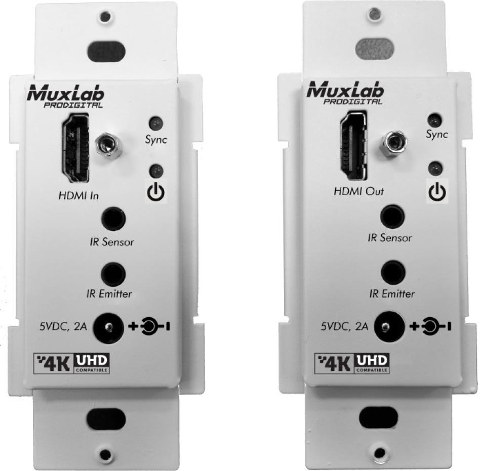 Muxlab 500451-WP-DEC HDMI Transmitter/Receiver Wall-Plate Extender Kit - HDBT - UHD-4K (Decora) MUX-500451-WPDEC