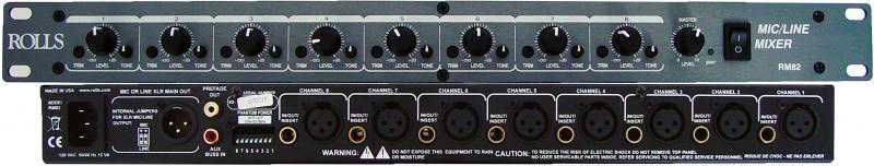 Rolls Rm82 8 Xlr Amp 1 4 Input Rackmount Mic Line Mixer With