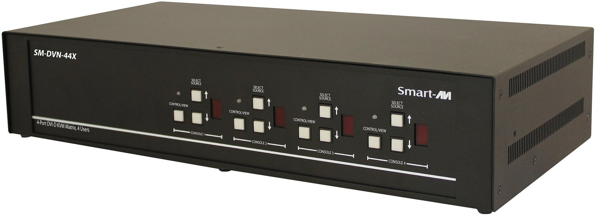 Smart AVI SM-DVN-44X DVI-D Matrix KVM Switch with Audio and USB 2.0 Support (4 Users) - 4 Port SAVI-SM-DVN-44X