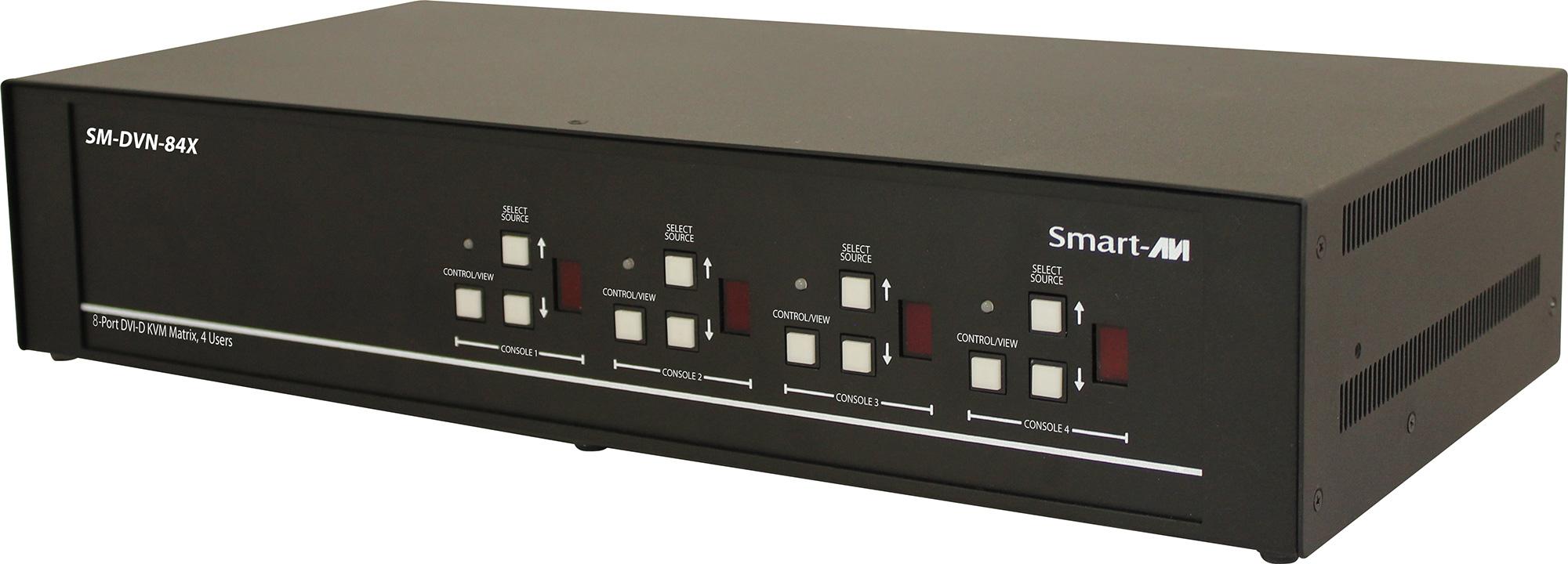 Smart AVI SM-DVN-84X DVI-D Matrix KVM Switch with Audio and USB 2.0 Support (4 Users) - 8 Port SAVI-SM-DVN-84X