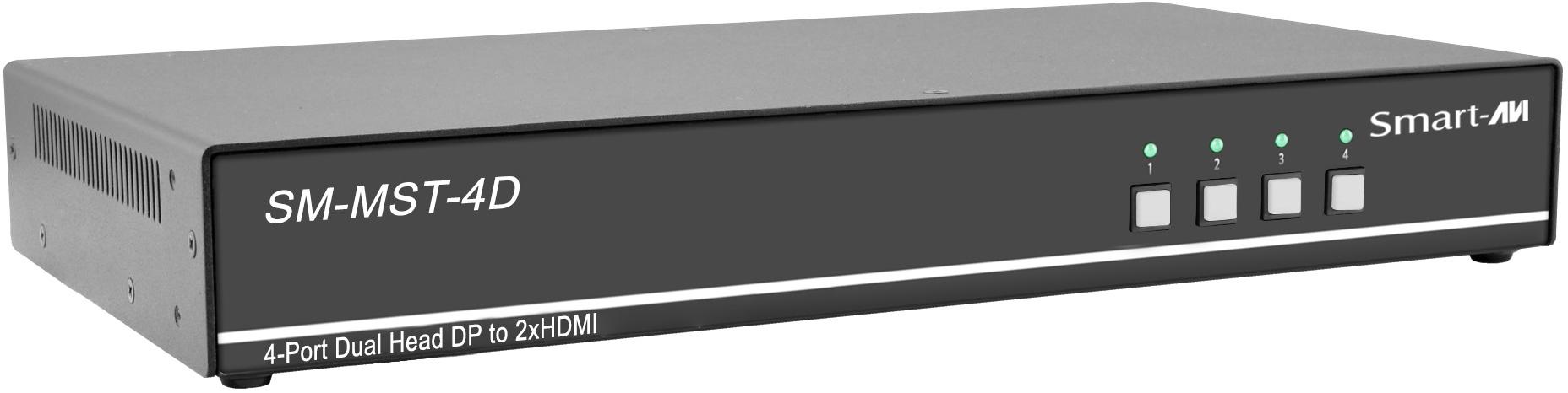 Smart AVI SM-MST-4D MultiStream Transport Technology KVM Switch with Dual 4K HDMI Out - 4 Port SAVI-SM-MST-4D