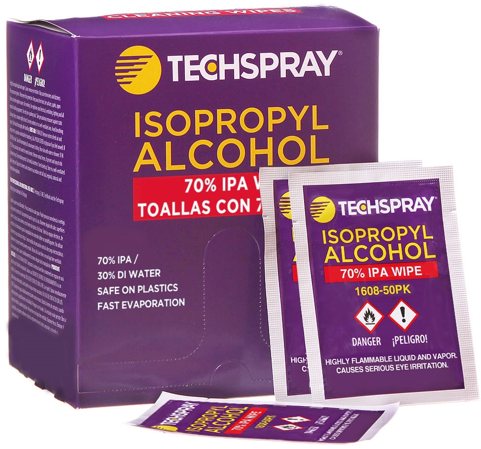Techspray 1608-50PK Isopropyl Alcohol Cleaning Wipes 70 Percent - Box of 50 Single Wipes TESP-1608-50PK