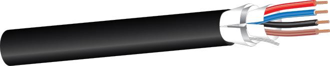 West Penn AQ3245 4 Cond. 16 AWG Aquaseal Fire-Alarm Cable - Black - 1000 Foot WP-AQ3245-1000BK