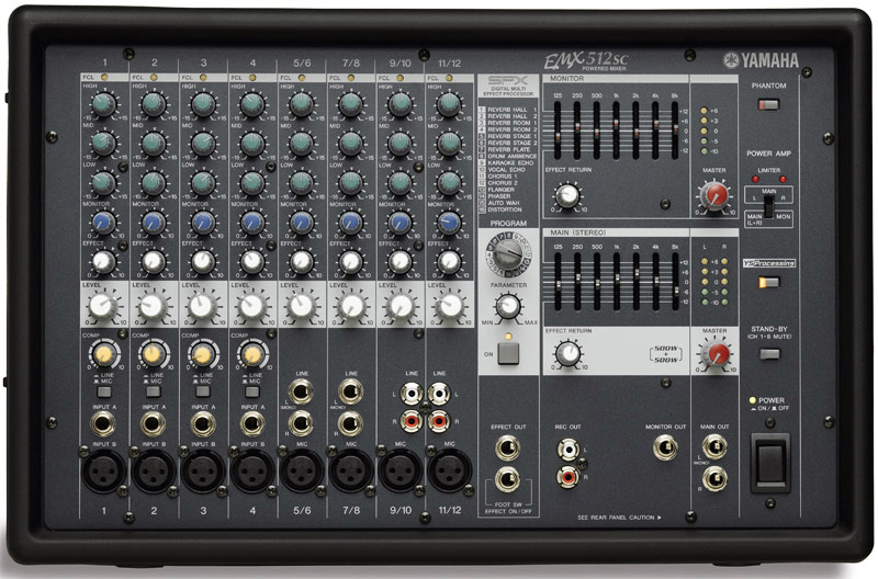 Yamaha emx512sc 8 input powered mixer with dual 500 watt amp for Yamaha power amp mixer
