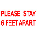 Pro Tapes 6x10 Please Stay 6 Feet Apart Social Distancing Stickers - White/Red Print - PPE