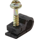 Black Single Coax Cable Screw Mount Clips - 100 Pack