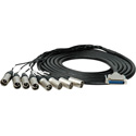 Sescom 25MA-XM-C15 Audio Snake Cable Canare Analog 25-Pin D-Sub Male to 8 XLR Male w/ 24in. Fanouts - 15 Foot
