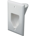 Datacomm 1 Gang Recessed Low Voltage Cable Plate- White