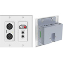 Attero Tech UND6IO-W-C 4x2 Channel 2 Gang US Wallplate with XLR RCA 3.5mm I/O PoE - SymNet Control Compatible - White