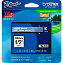 Brother TZe135 0.47in x 26.2 ft (12mm x 8m) White on Clear