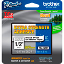 Brother TZeS231 0.47in x 26.2 ft (12mm x 8m) Black on White Extra-Strength