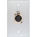 MCS BRP-1115/CA Boardroom Series 1-Gang Clear Anodized Wall Plate w/ 1 Neutrik 3-Pin XLR Female Connector