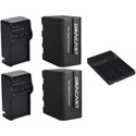 Dracast DRBK2NPFBADP 2x NP-F 6600mAh Batteries with Chargers and Vmount to NPF Converter Kit